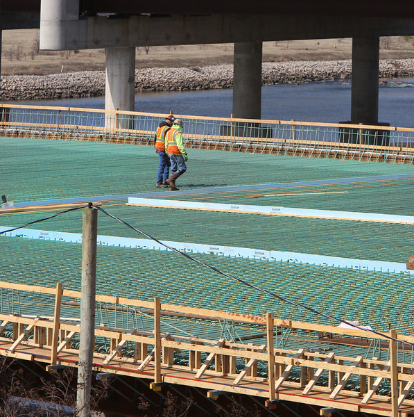 Construction continues on the I-244 Bridge of the Arkansas River near downtown Tulsa.