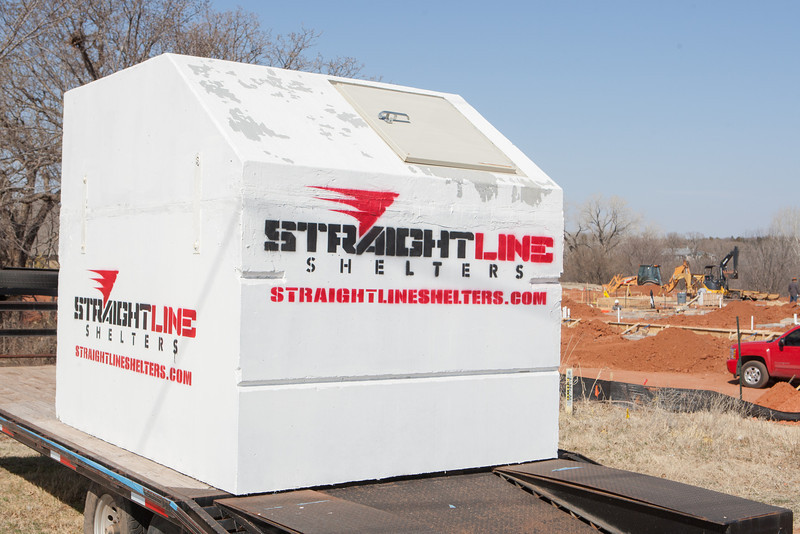 A Stright Line shelter on display at I-35 and 2nd Street in Edmond, OK.