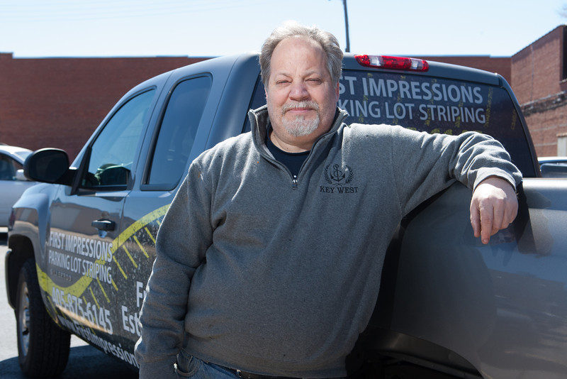 Pat Beaver, owner of First Impressions, a parking lot striping and painting company in Oklahoma CIty, OK.