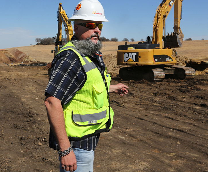 Dave Smith, Senior Safety Inspector with Enbridge, at one of the many job sites of the Flanagan South Pipeline in Osage County.