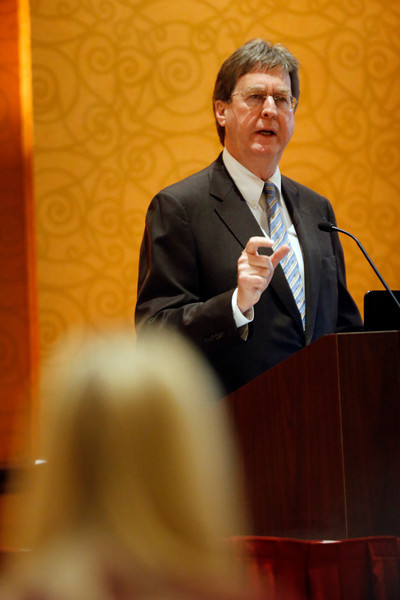 Tulsa Mayor Dewey Bartlett gives the keynote speech at the Greater Tulsa Realtors conference Wednesday.