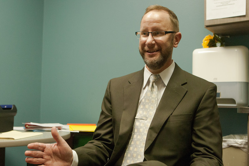 Dr Steven Sternlof in a consultation room at the Harlod Hamm Center for Diabetes.