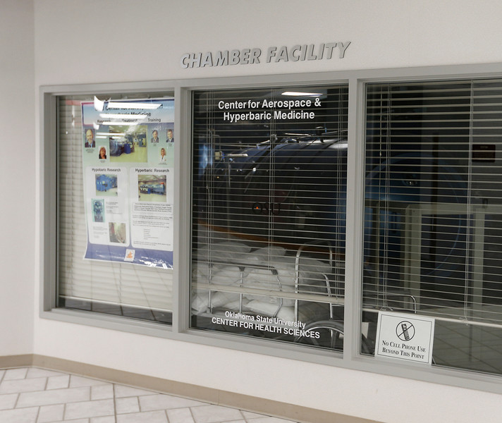 The center for Aerospace and Hyperbaric Medicine at the TCC Aviation Alliance Building in Jenks.<br /> <br /> Hyperbaric chamber can be seen behind glass