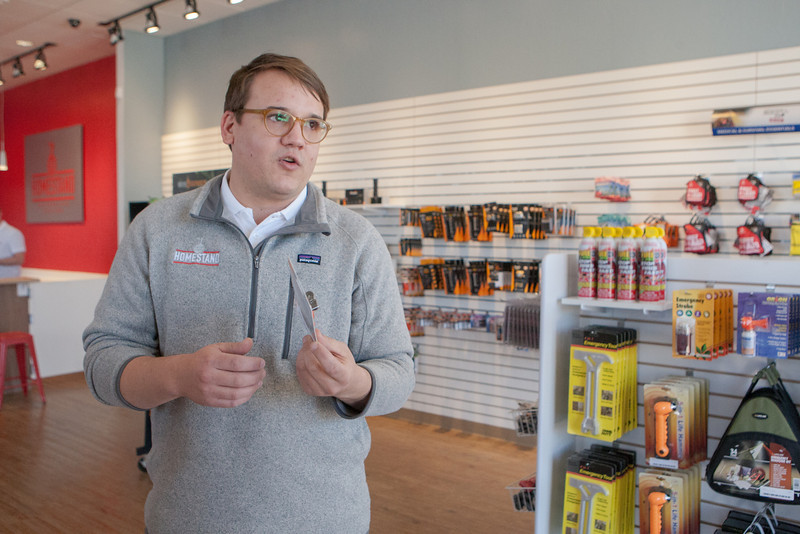 Scott Harper, general manager for Homestead Preperation Station, a store for emergancy preparedness at NW 63rd and May in Oklahoma CIty, OK.