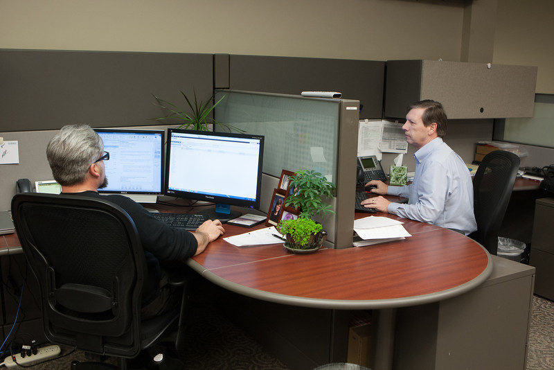 Two members of the IT department aat Dobson Technologies in Oklahoma CIty, OK.