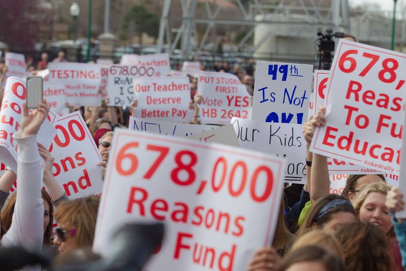 Thousands of teachers, parents and students participated in a rally for higher state spending on education at the Oklahoma State Capitol.