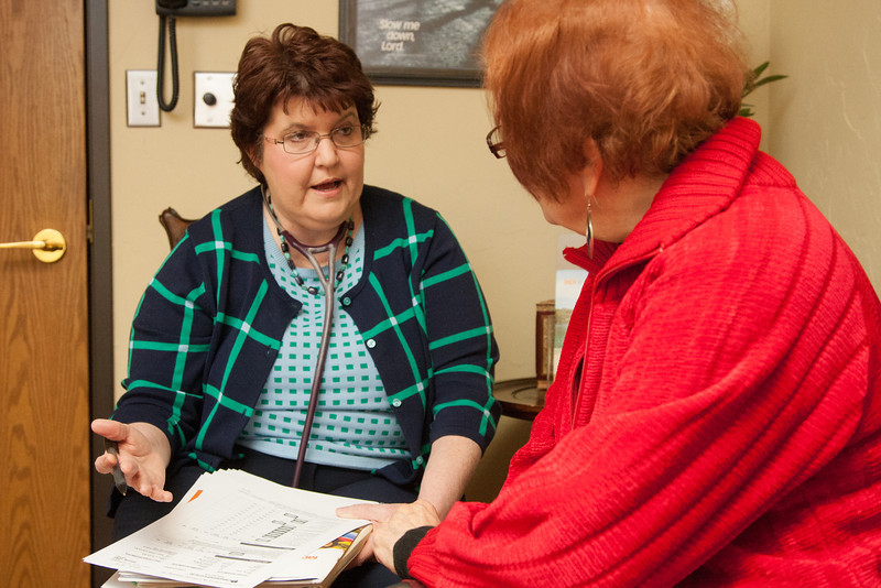 Dr Cheryl Black goes over test results with a patient. Dr Black practice is located Mercy Hospital complex in Oklahoma City, OK.