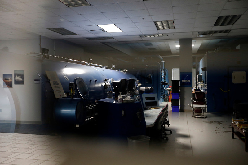 The center for Aerospace and Hyperbaric Medicine at the TCC Aviation Alliance Building in Jenks.<br /> <br /> Hyperbaric chamber can be seen - shot through glass
