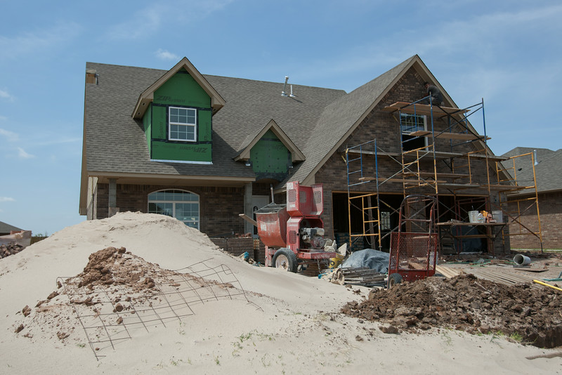 A house being built on the location of a home destroyed in the May 20, 2013 tornado in Moore, OK.