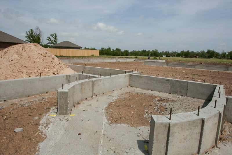 A foundation has been poured on the site of a home destroyed in the May 20, 2013 tornado in Moore, OK.