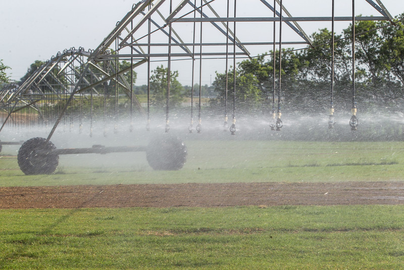 Watering takes place 24/7 at Candadian Valley Sod in Oklahoma CIty, OK.