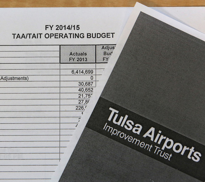 The budget spreadsheet presented at the Tulsa Airport Association meeting Thursday.