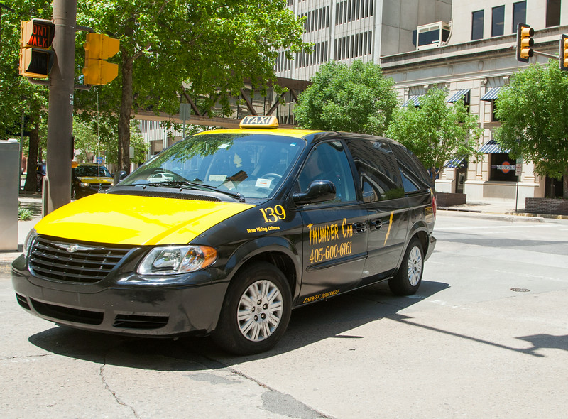 A Thunder Cab taxi in downtown Oklahoma CIty, OK.
