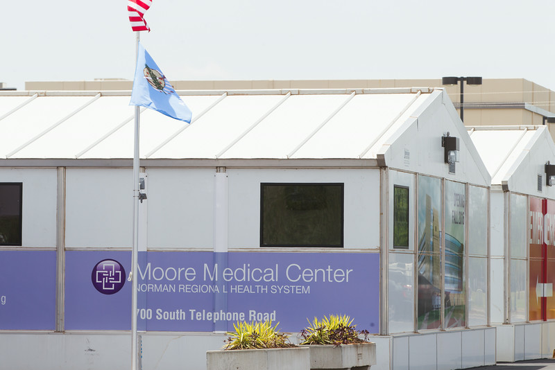 The temporary Moore Medical Center that replaced the hospital destroyed in the F5 tornado a year ago.