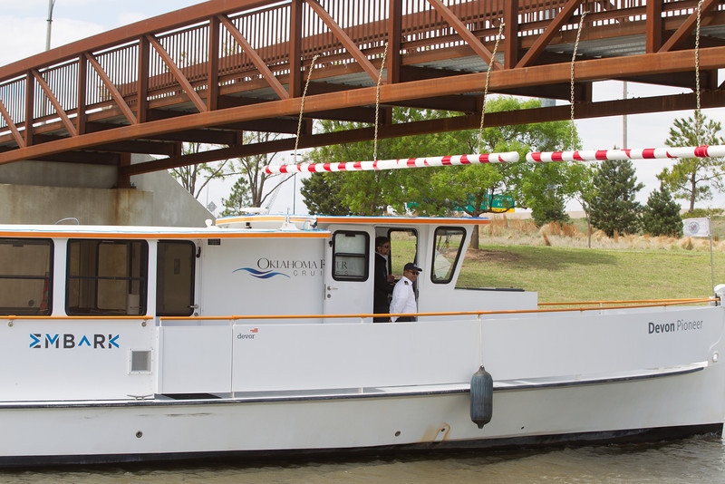 Oklahoma River Cruises has begun operation to ferry passengers from the between the boathouse district and the stockyard district.