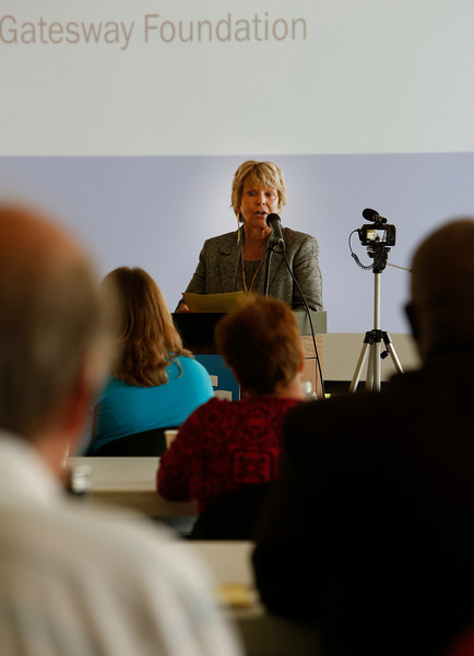 Judi Mayers, CEO of the Gatesway Foundation, speaks at the strategic planning session in Tulsa Tuesday.