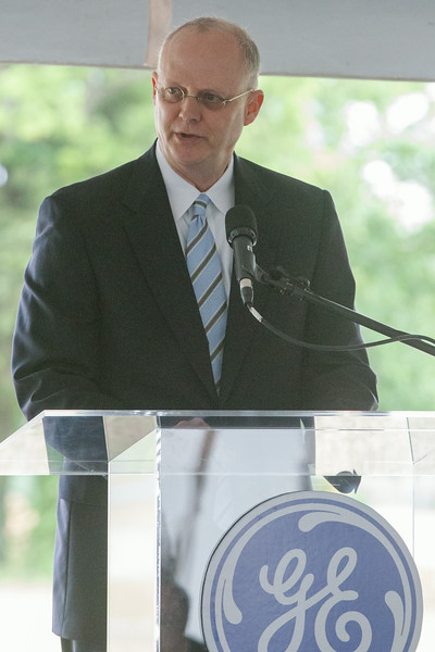 Tony Vaughn at the groundbreaking ceremony at the site of GE Global Research's new Oil & Gas Technology Center in downtown Oklahoma City, OK.