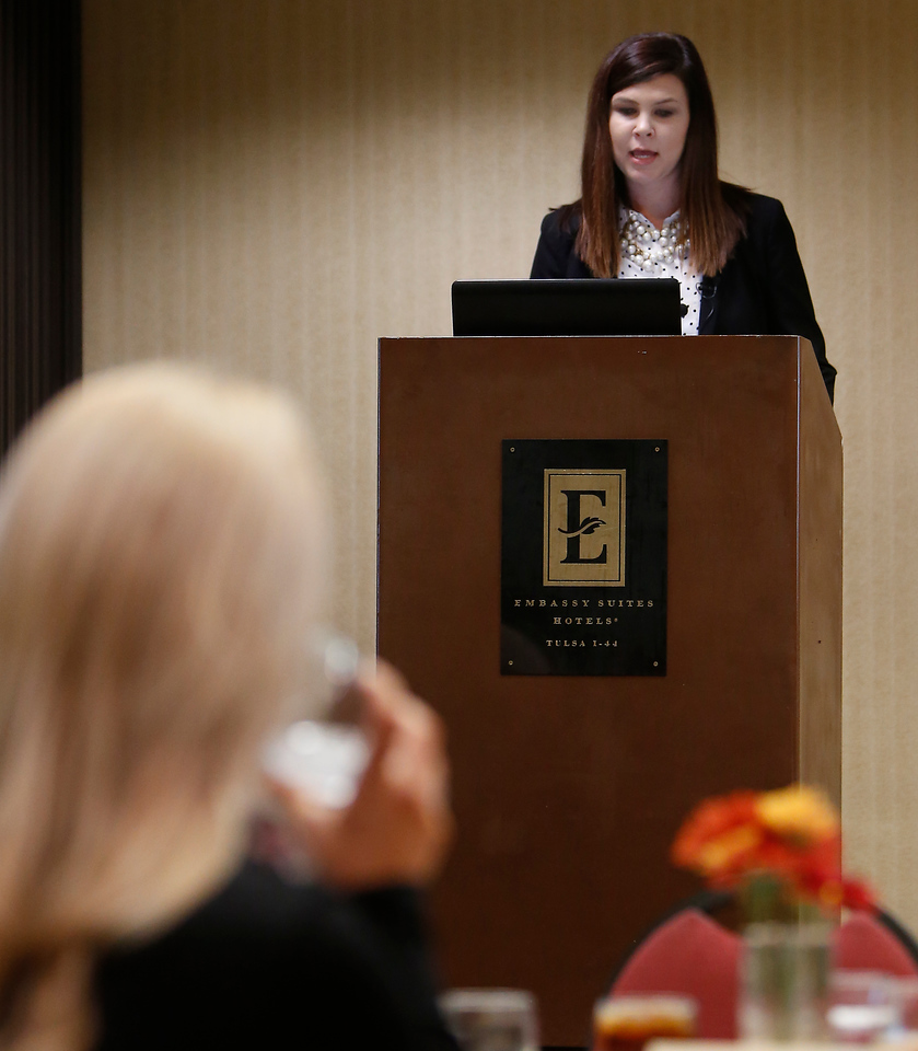 Brittany Sawyer of Smith Travel Research gives the keynote presentation at the Metro Tulsa Hotel and Lodging Associations 2015 Forecasting Luncheon Tuesday.
