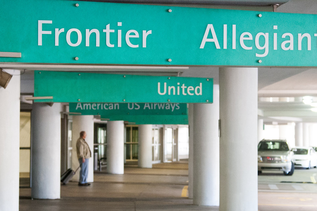 The Frontier Airlines passenger pickup area at Will Rogers Airport in Oklahoma CIty.