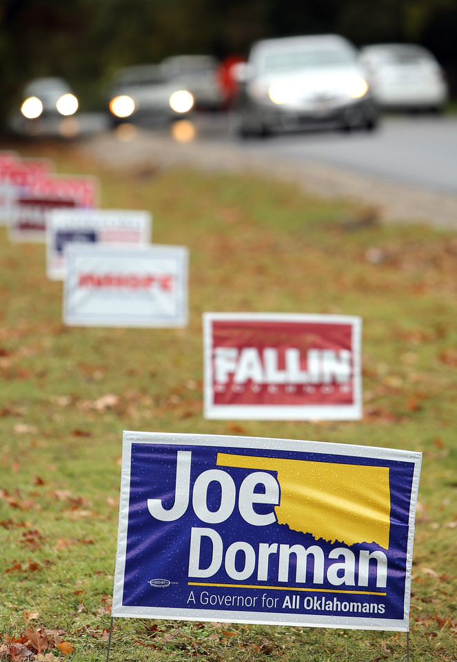 Political signs line the roads of Tulsa.