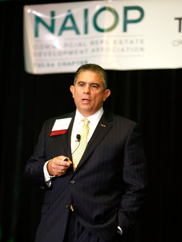 NAIOP Presedent Tom Bisacquino gives his presentation at the Tulsa Trends convention Thursday.