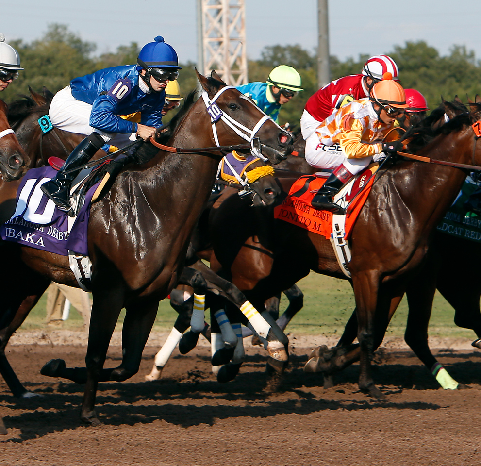 Ibaka (#10) breaks from the gate at the start of the Oklahoma Derby Sunday at Remington Park.