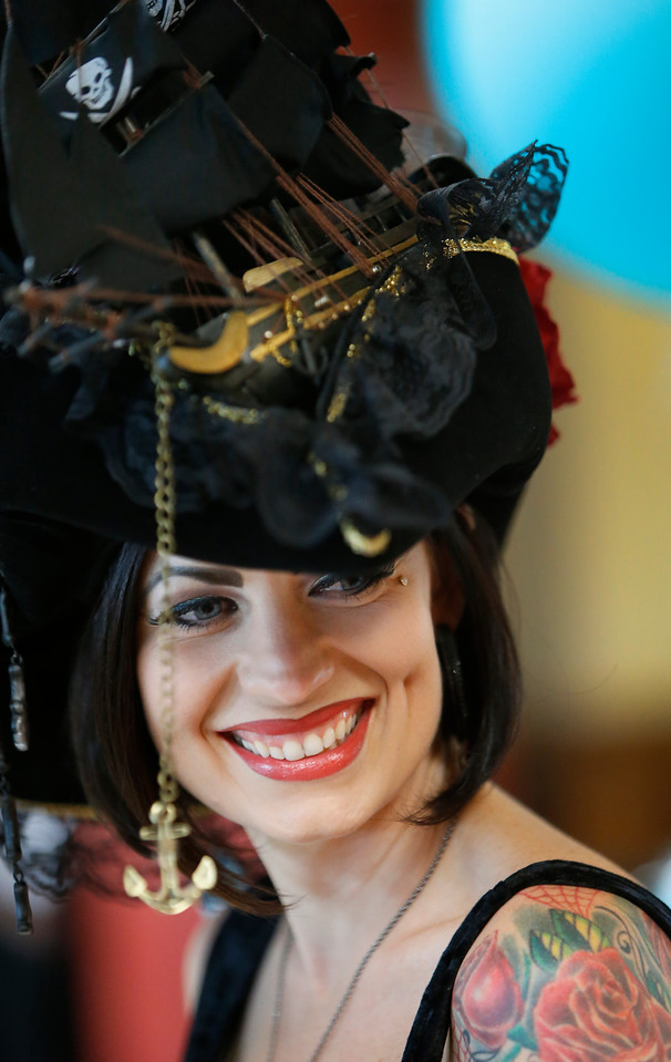 Tiara Cook of Edmond entered the  fancy hat competition with a pirate ship inspired lid.