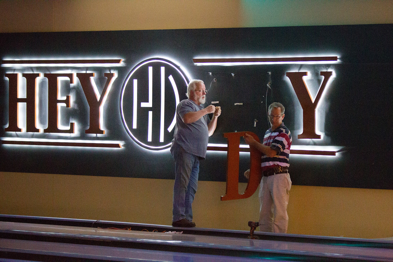 A sign being assembled at the new bowling lanes at Hey Day in Norman, OK.