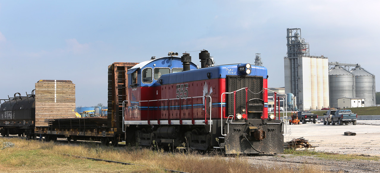 """The Port of Catoosa railroads """"Triple Nickle"""" switch engine  moves rail cargo throughout the port."""