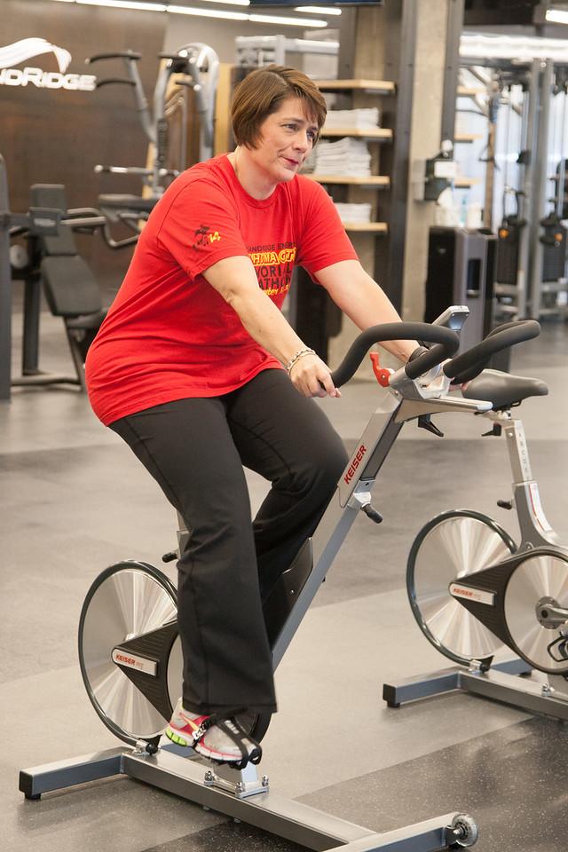 Peggy Daneshmand uses the employee gym at Sandridge Emergy in Oklahoma CIty, OK.