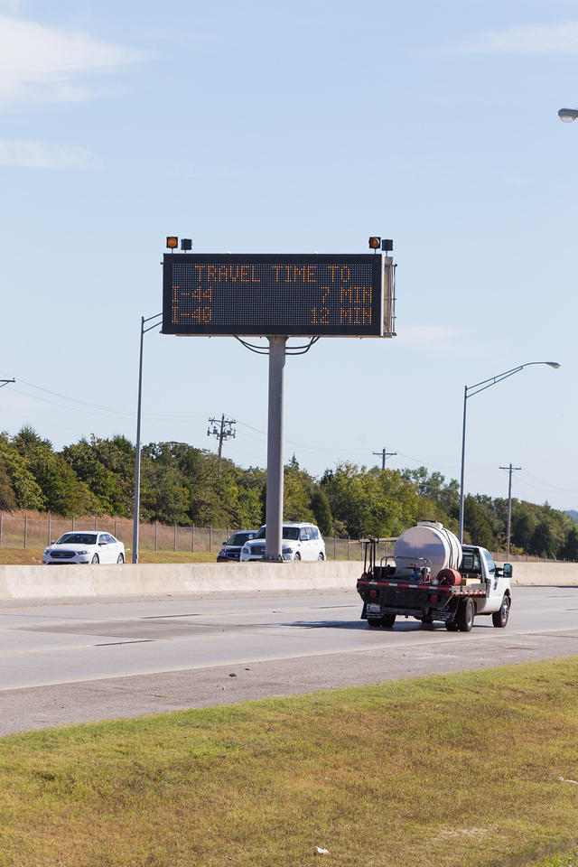 A road condition sign on I-35 in Edmond, OK.