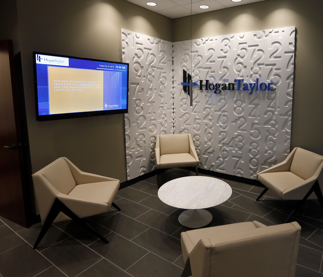 The main lobby of HoganTaylor in Tulsa.