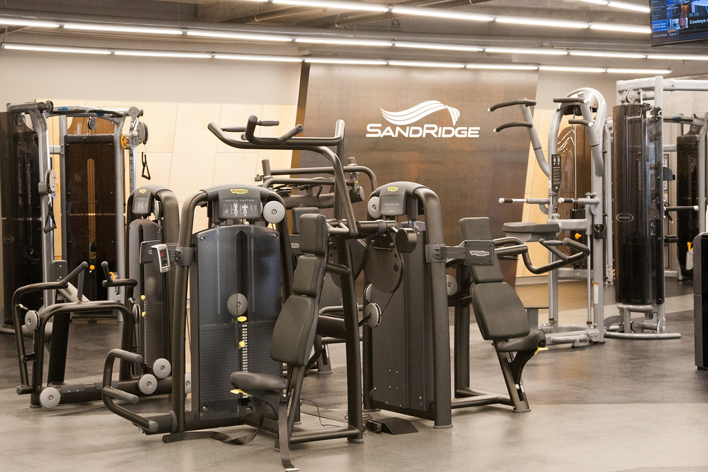The newly remodeled gym at Sandridge Energy in Oklahoma City.