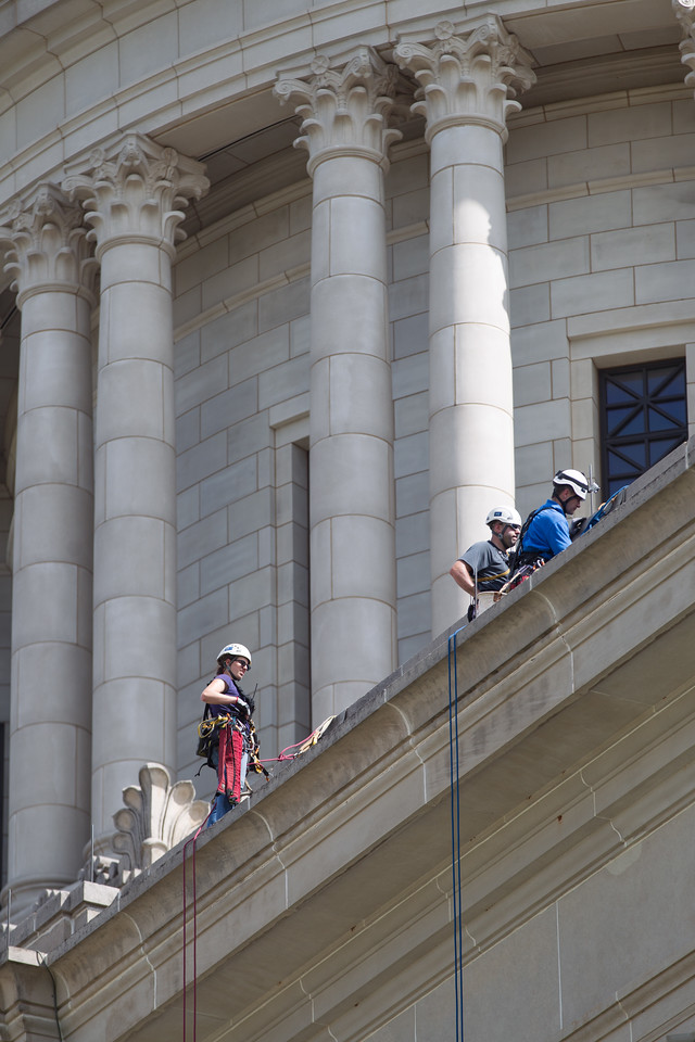 Engineers repel off the Oklahoma State Capitol to inspect wear and tear on the one hundred year old building.
