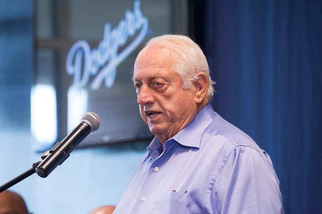 Baseball legend Tommy Lasorda spoke at a press conferance announcing that the Oklahoma City Redhawks have been sold to the LA Dodgers.