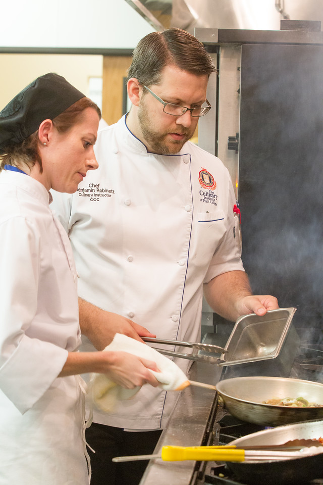 Cindy Banks with Chef Benjamin Robinett in the kitchen at Platt College in Oklahoma CIty, OK.
