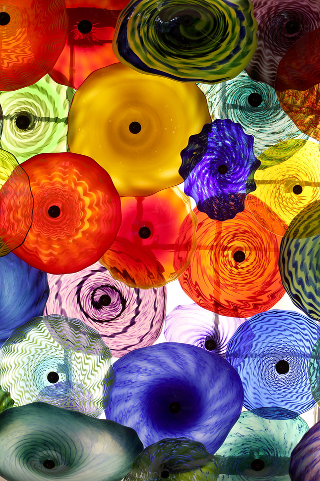 Colorful hand blown glass is used as decoration at the Saint Francis Hospital Trauma Center in Tulsa.
