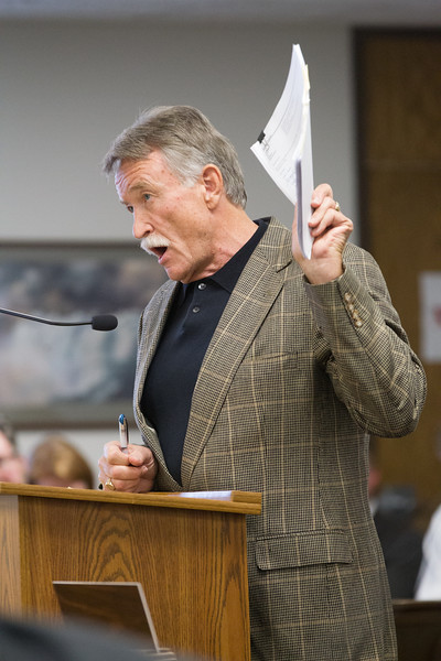 Land owner Warren Thomas speaking during the public comments time at the Oklahoma Corperation Commision's study on the commision's role in the wind power industry.