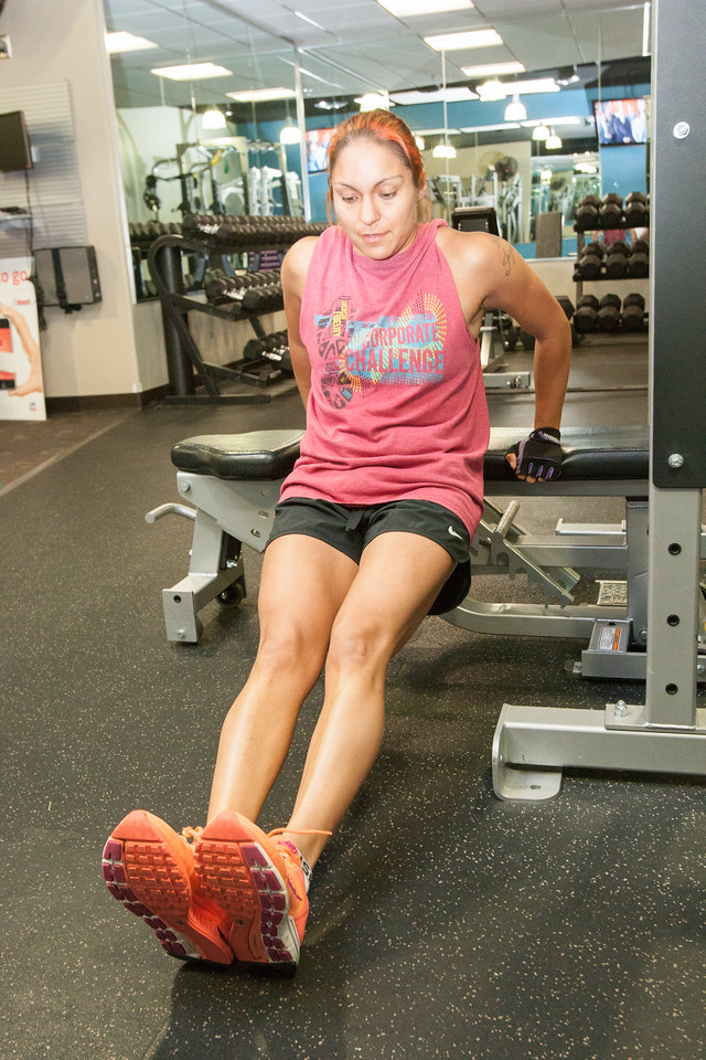 Gracie Acosta working out in the gym at American Fidelity in Oklahoma City, OK.