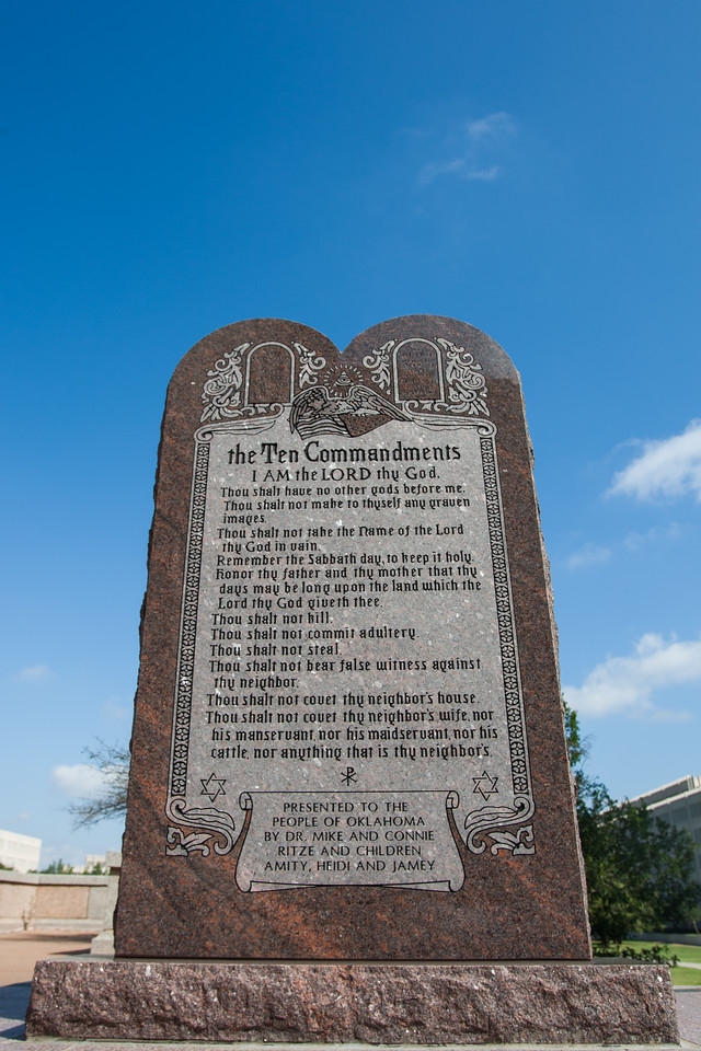 The Ten Commandments monument at the Oklahoma State Capitol.