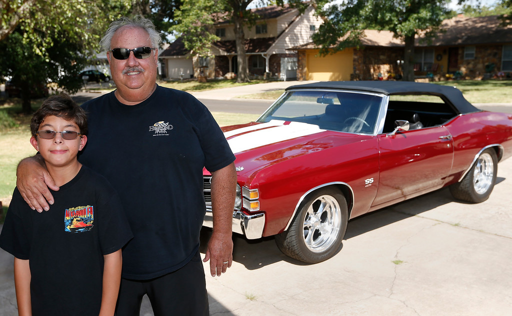 Michael Wood and his father Tony Wood pause for a photo in front of the 1971 Chevelle SS Mr. Wood will be driving in the HOT ROD Drag Week 2014 competition.