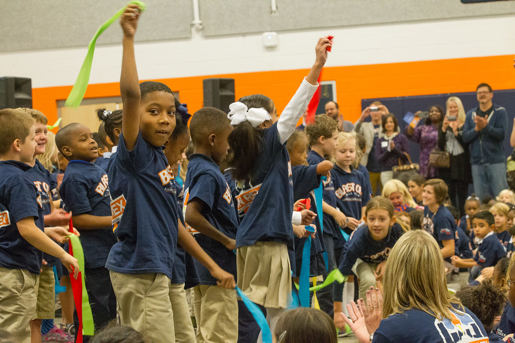 Students perform for the audiance during the dedication of the new John Rex Elementry in downtown Oklahoma City.