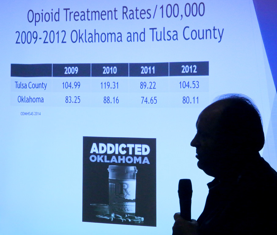 Floyd Long of the Oklahoma Department of Corrections - Programs Unit, discusses prescription drug addiction in Oklahoma during the the 20th Annual Zarrow Symposium in Tulsa.