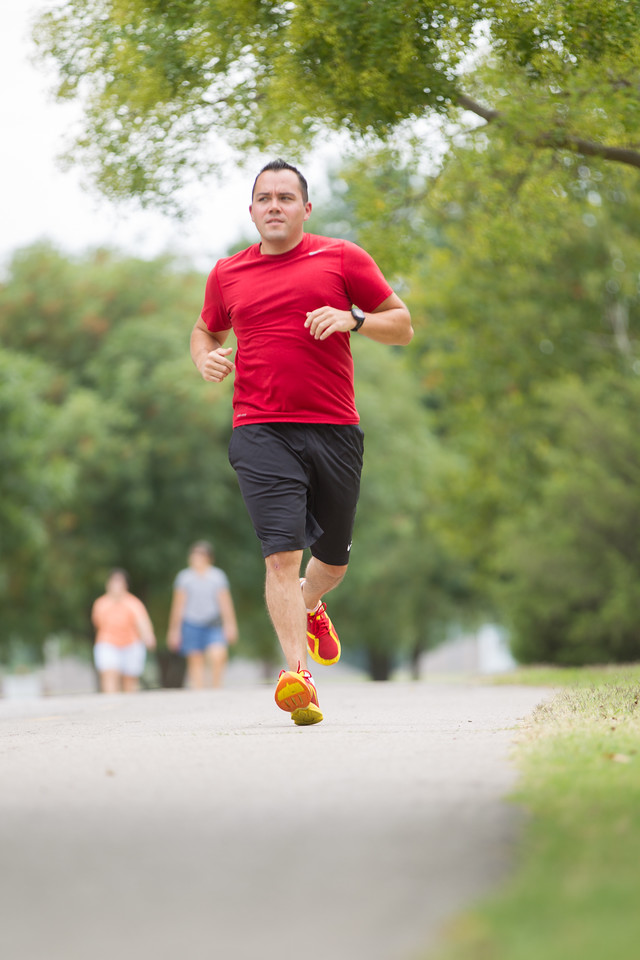 Sam Jeffcoat runs at Earlywine Park near his apartment in south Oklahoma City.