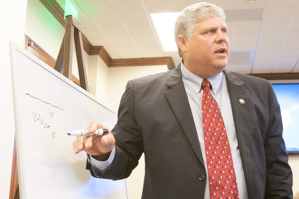 Oklahoma State Rep. Steve Vaughn explains the potential dangers of hyrolic fracturing poses to fresh water at an interim study on ground water use for drilling purposes.