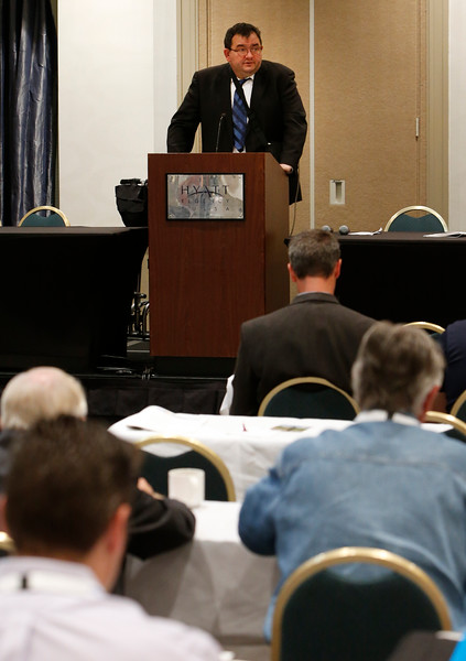 Charles Hurlvurt of the Bureau of Indian Affairs in Osage County auctions leases at the Osage oil and gas summit and lease sale in Tulsa.<br /> <br /> Served as auctioneer Charles Hurlvurt
