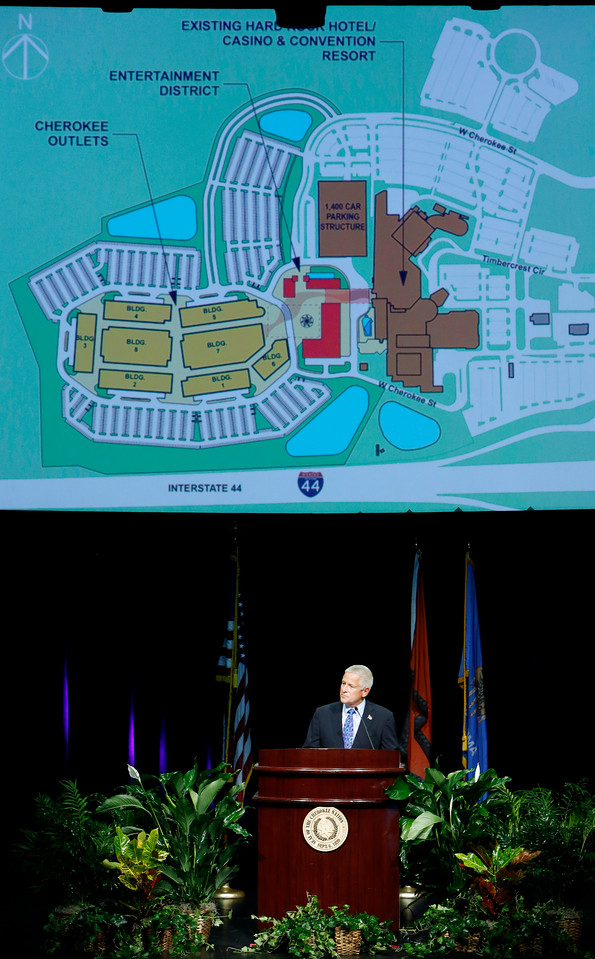 Woodmont Outlets Chairman Stephen Coslik, helps announce an expansion planned immediately west of the Hard Rock Casino and Hotel Tulsa.