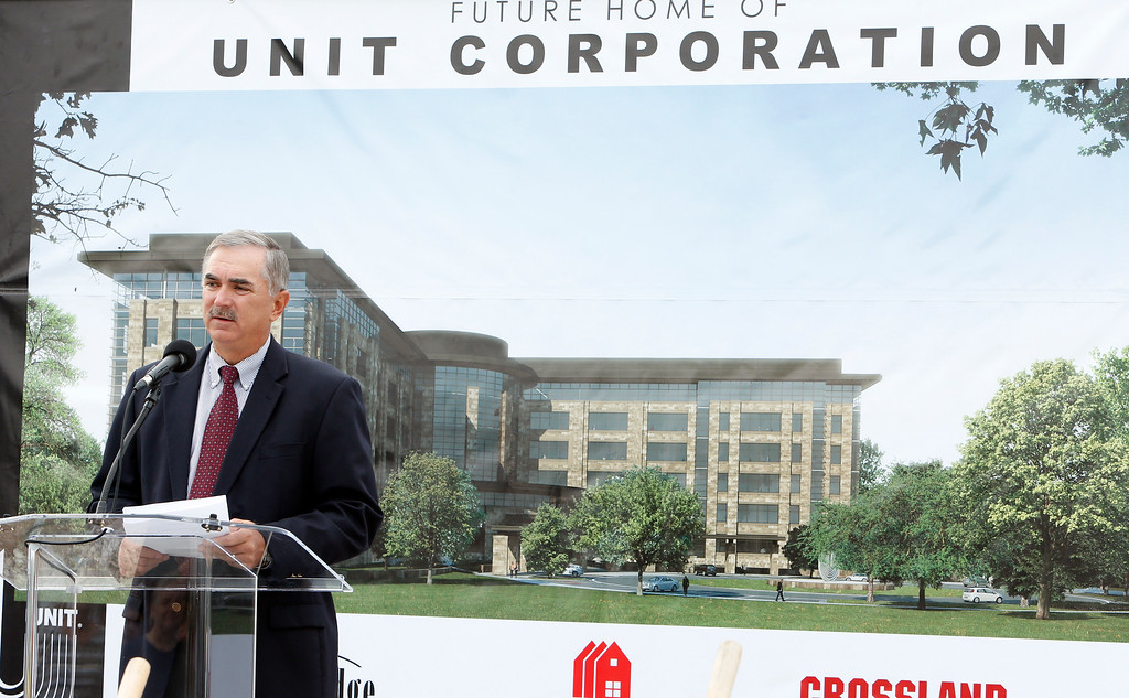 Larry Pinkston, CEO of Unit Corporation, speaks at the groundbreaking for the companies new location in south Tulsa.