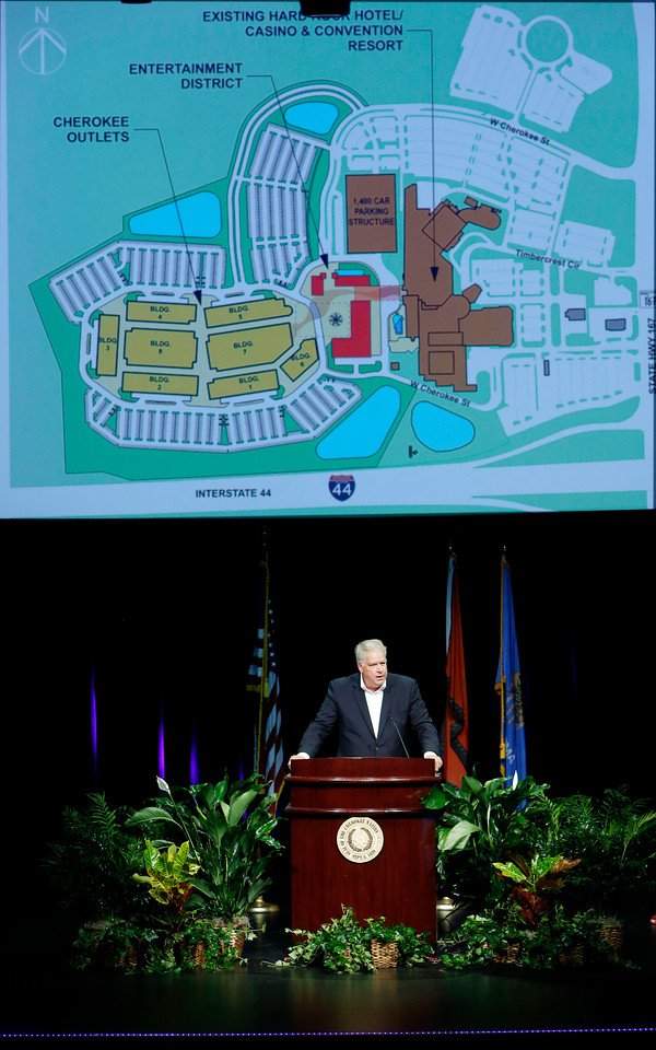 Cherokee Nation Businesses Chief Executive Shawn Slaton announces an expansion planned immediately west of the Hard Rock Casino and Hotel Tulsa.