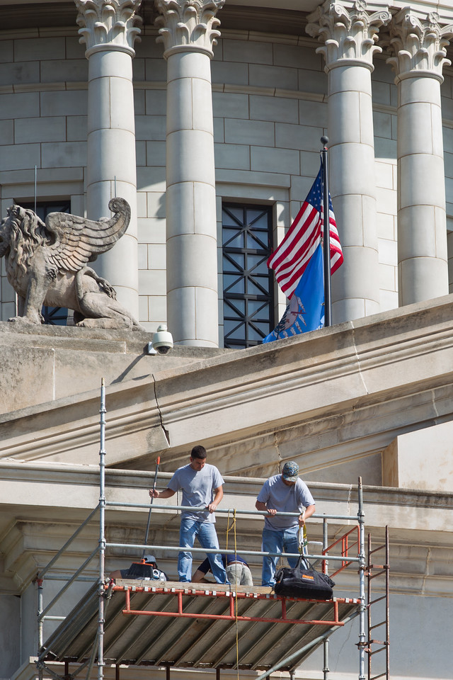 Men working on the Oklahoma State Capitol in Oklahoma City, OK.